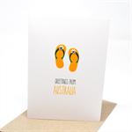Australia Card - Green and Gold Aussie Thongs Flipflops - AUS013
