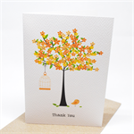 Thank You Card - Orange Blossom Tree with Birdcage - THY023 / Card Thank You