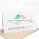 Engagement Card Congratulations - Love Birds on Branch with Hearts - ENG022