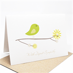 Thinking of You Card - Green Bird on a Branch - WDS016 - Sympathy Card