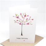 Birthday Card Female - Bright Flower Tree - HBF144