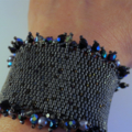 Elegant Hand Beaded Cuff Bracelet in Black and Grey