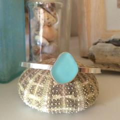 Blue Sea Glass Cuff Bracelet