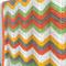 Crochet blanket, acrylic, orange, green, white, yellow, bedding, cot, zigzag,