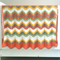 Crochet blanket, acrylic, orange, green, white, yellow, bedding, cot, zigzag,
