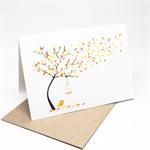 Blank Card - Autumn Fall Tree with Birdcage - BLA042