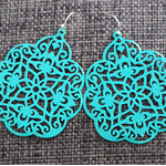 Turquoise Boho Drop Filigree Earrings