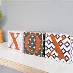 3 x ~ Patterned wood blocks ~ Customised theme, Lovers blocks. 8x8cm