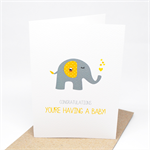 Pregnancy Card - You're Having a Baby - Grey and Yellow Elephant - BBY004