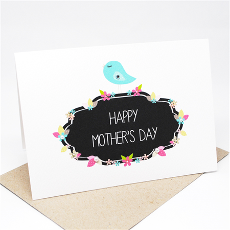 Happy Mother's Day Card - Blue Bird on Floral Signage - HMD013