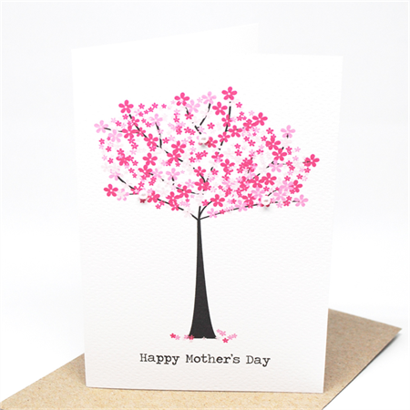 Mother's Day Card - Pink Pearl Cherry Blossom Tree - HMD012