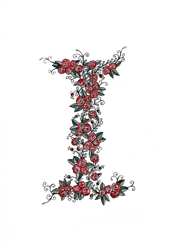 Cute Floral Letter I A4 Print Isla Isabella Isabel