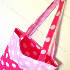 Mini Tote Bag - Dark & Light Pink Dots - Totally Reversible