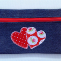 Upcycled Denim Pencil Case - Red Hearts