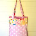 Mini Tote Bag - Pink Dots & Flowers - Totally Reversible