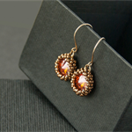 Hand beaded swarovski crystal bronze and gold earrings. Small gold earrings.