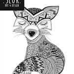 """A4 Black & White Print """"Little Fox Cub"""" Unframed"""