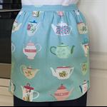 SALE - Half Apron Vintage Teapot -womens retro vintage kitchen apron - teapots