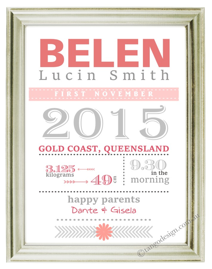 Girl PRINT wall art: Birth Announcement for frame Personalised ...