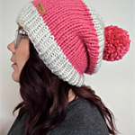 Chunky Knit Beanie in Candy Pink & Cream, Pom Pom (Adult) - Ready to Ship