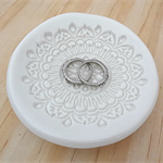 White porcelain ring dish, ring bowl, ring holder. Ceramic bowl.