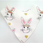 Floral Rabbit on white  Bandana bib