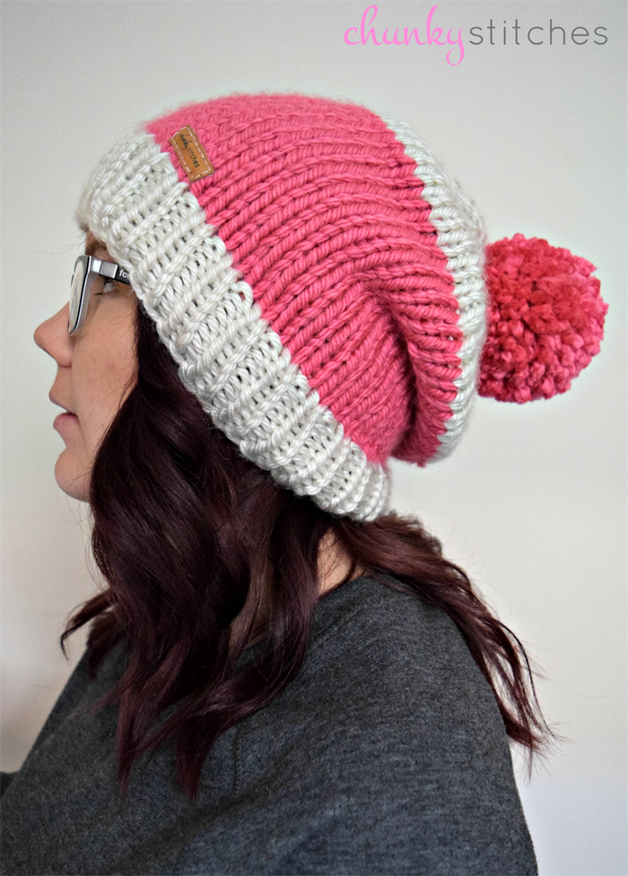 950709ceb79 Chunky Knit Beanie in Candy Pink   Cream