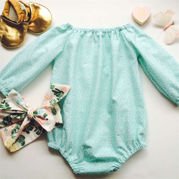 03d51663279c ... Mint miniature Floral Long Sleeve Baby Girl Romper - Winter