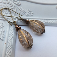 Vintage Teardrop with Gold Engraving Earrings