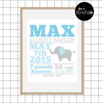 "Elephant Birth Stat - Blue 8x10"" Print"