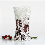 Mosaic vase ... mulberry shade with textured clear glass..