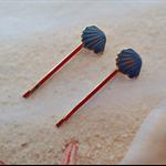 Nautical Blue Enamel Shell Design Hair Clip Bobby Pins Set x 2