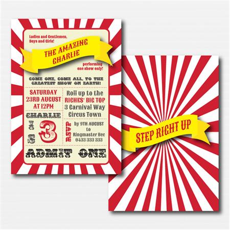Circus Printable Custom Invitation