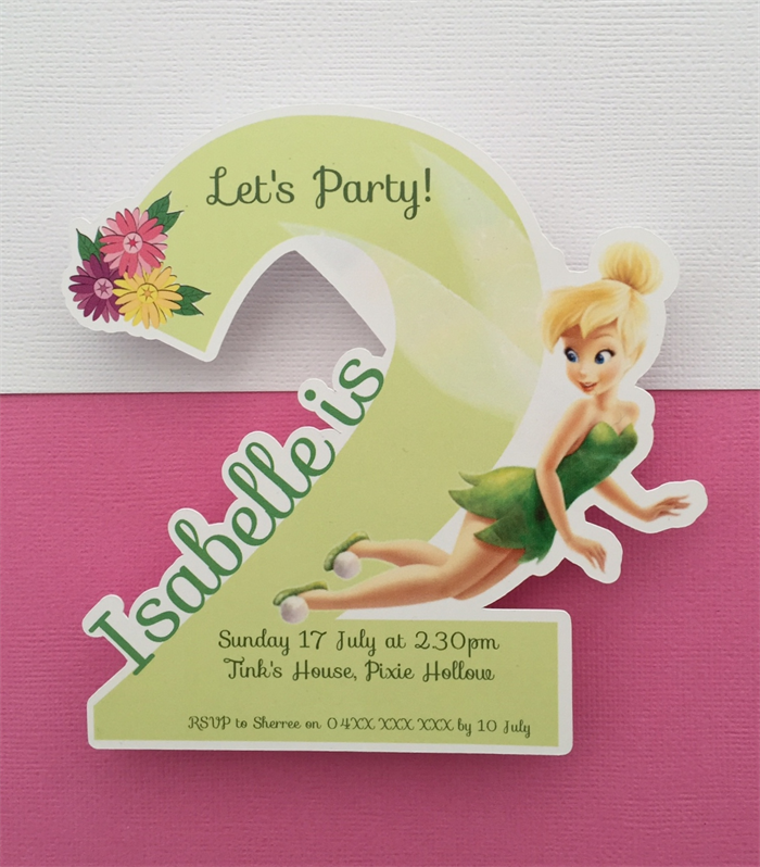 Personalised Tinker Bell Birthday Party Invitation Cutouts 2 Years Old 10pk