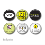 Magnet set 6 -vegan/vegetarian fridge magnets