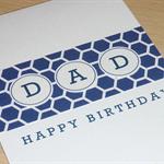 DAD Happy Birthday card - navy blue