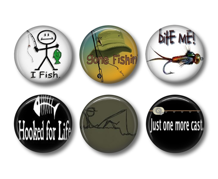 Fishing magnets 6 fishing fridge magnets badge bliss for Fishing magnets for sale