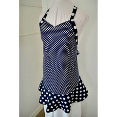 Navy Polka Dot Ladies Apron