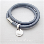 Silver Stainless Steel Charcoal Leather Wrap