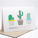 Birthday Card Female - Cactus Cacti in Pots - HBF150