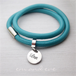 Silver Stainless steel Teal Leather Wrap