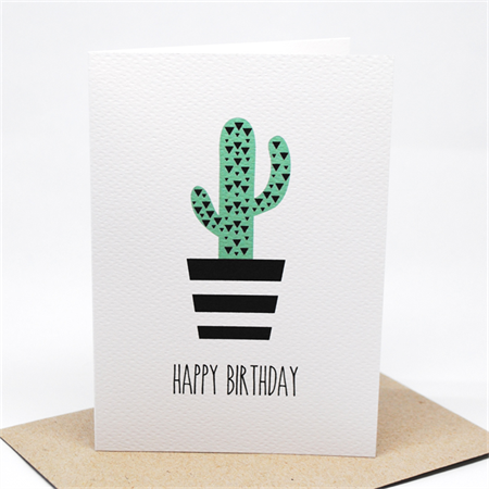 Birthday Card Female - Geometric Cactus in Black and White Pot Plant - HBF151