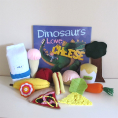 Dinosaur Book and Storytelling Set, Felt Food