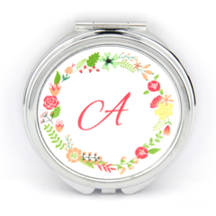 Monogram Initial Compact Mirror - Round Compact Purse Mirror