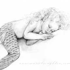 10x8 Signed Sleeping Baby Girl Mermaid Drawing Art Print