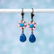 Pink and Blue Flower Earring, Flower Dangle Earring, Caribbean Blue Opal Earring