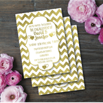 Engagement Invitation / Wedding Invitation / Real Gold Foil
