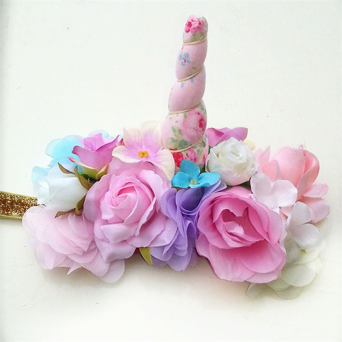 Pink and white floral unicorn horn flower crown headband.  1affcdfc279