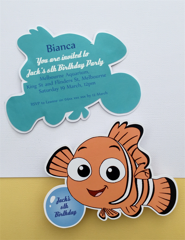Personalised Finding Nemo Birthday Party Invitation Cutouts- 10pk ...