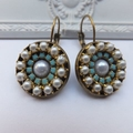 Czech Rhinestone Mosaic Turquoise Crystal and Pearl Earrings in Antique Bronze